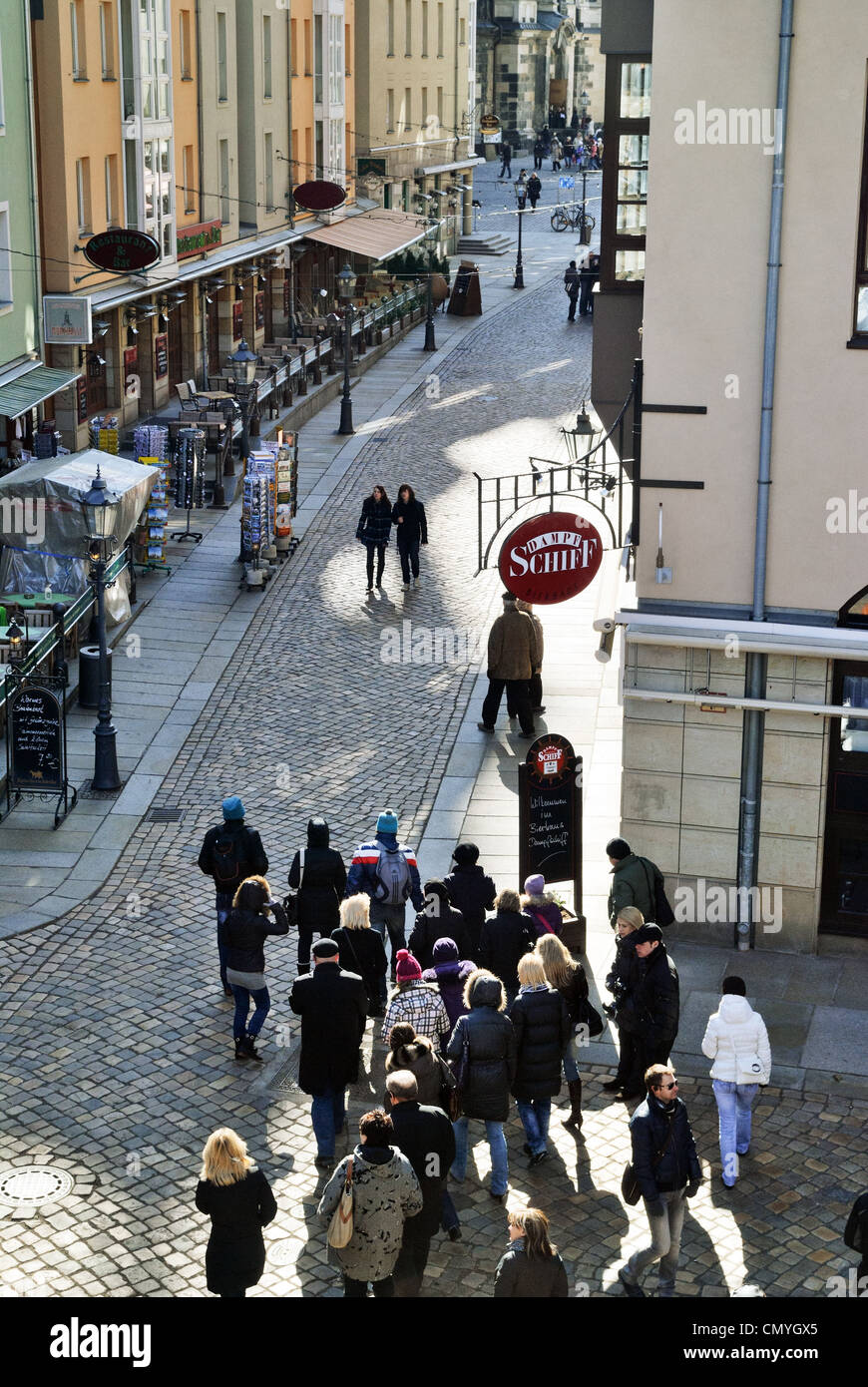 Munzgasse Street, Dresden, Germany - Mar 2011 - Stock Image