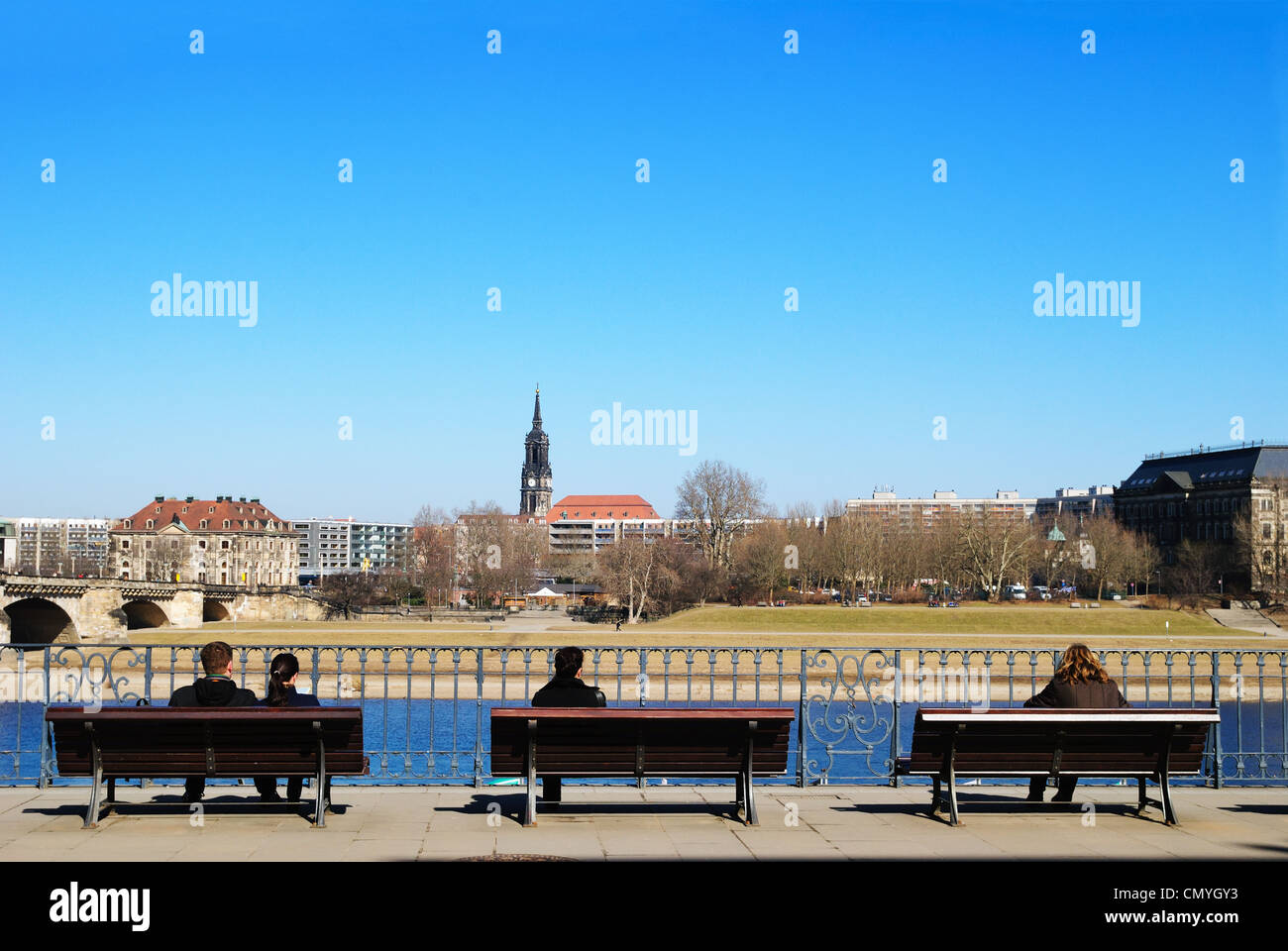New Town from the Right Bank of the Elbe, Dresden, Germany - Mar 2011 - Stock Image