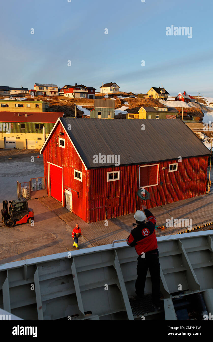Norway, Lapland, County of Finnmark, Mehamn, stopover of Trollfjord boat, shipping company Hurtigruten which assures - Stock Image