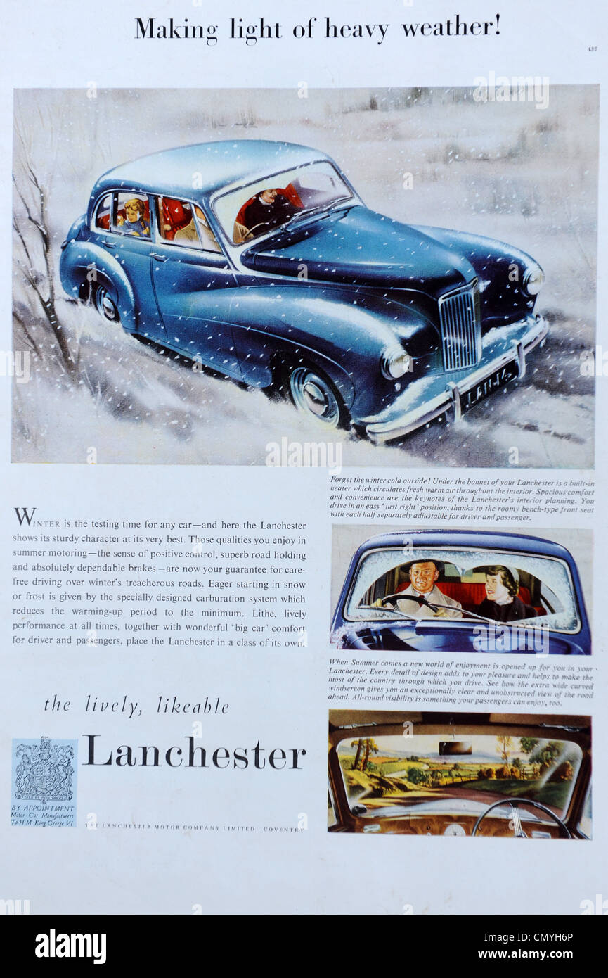 Lanchester car advert in The Illustrated London News 23/2/52 - Stock Image