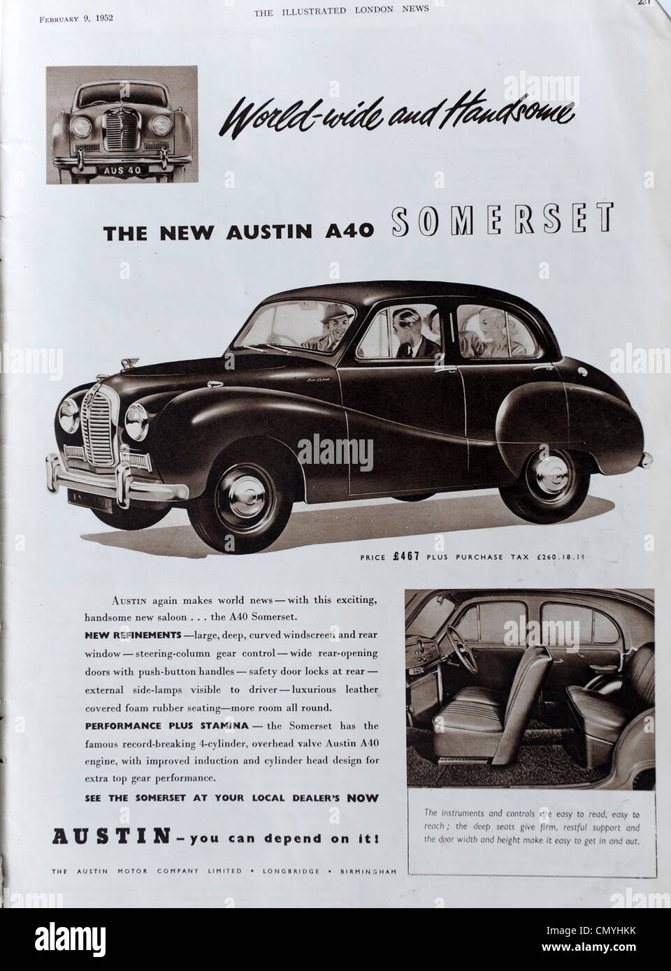 Austin A40 car advert in The Illustrated London News 23/2/52 - Stock Image