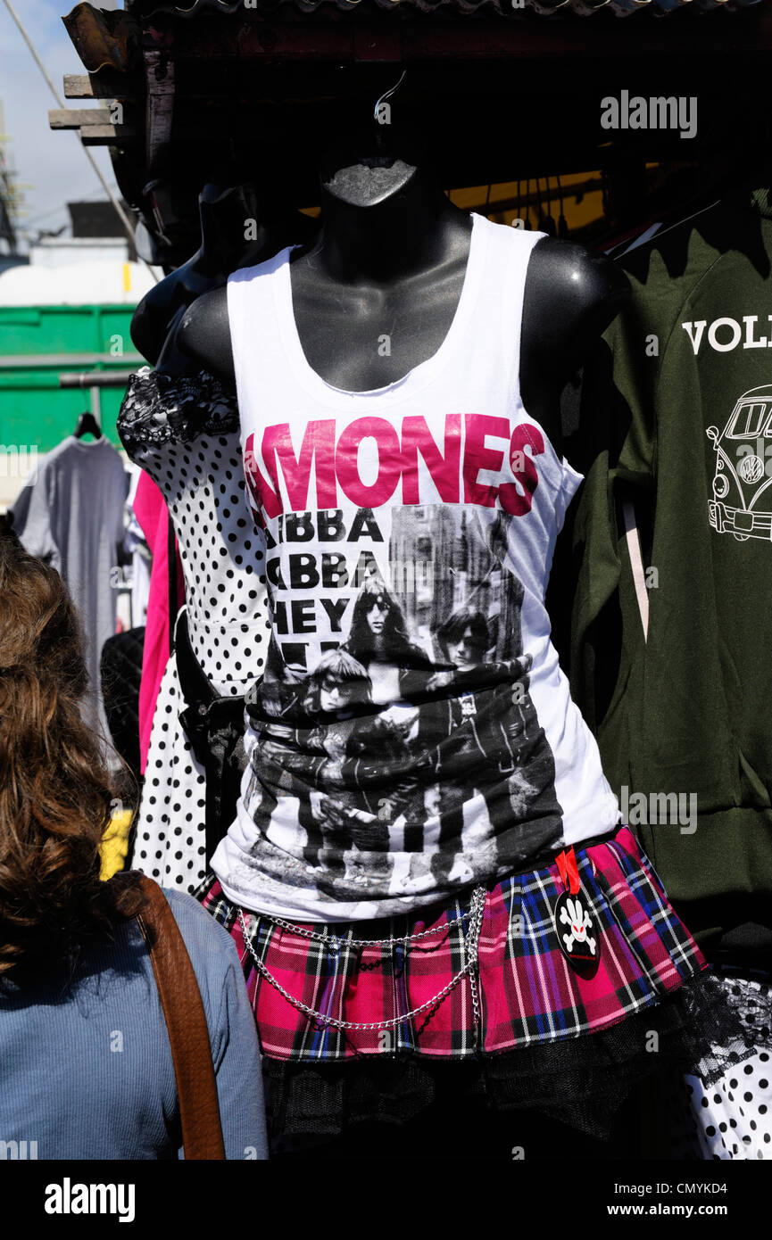 United Kingdom, London, Camden, T shirt bearing the image of the Ramones on the market of Camden - Stock Image