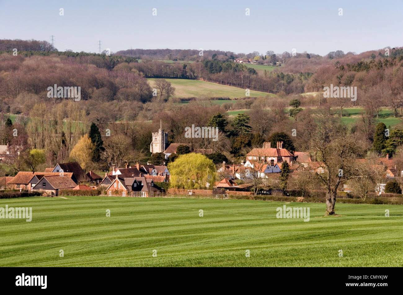 Chiltern Hills - view Little Missenden village - across green field of spring wheat - marked like a fresh cut lawn - Stock Image