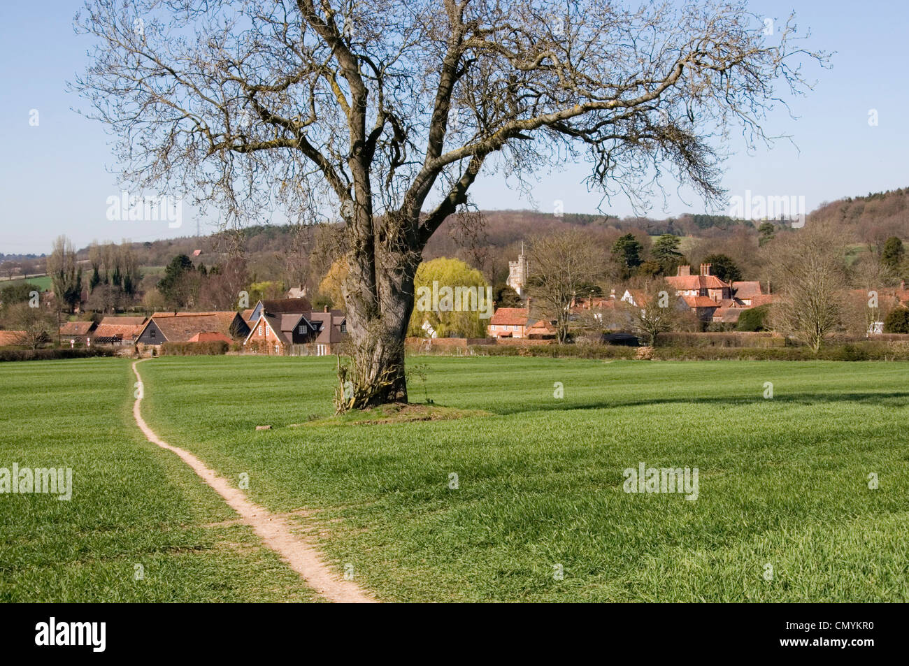 Bucks -Chiltern Hills - Little Missenden - view to the village - from footpath across fields - early spring sunshine - Stock Image