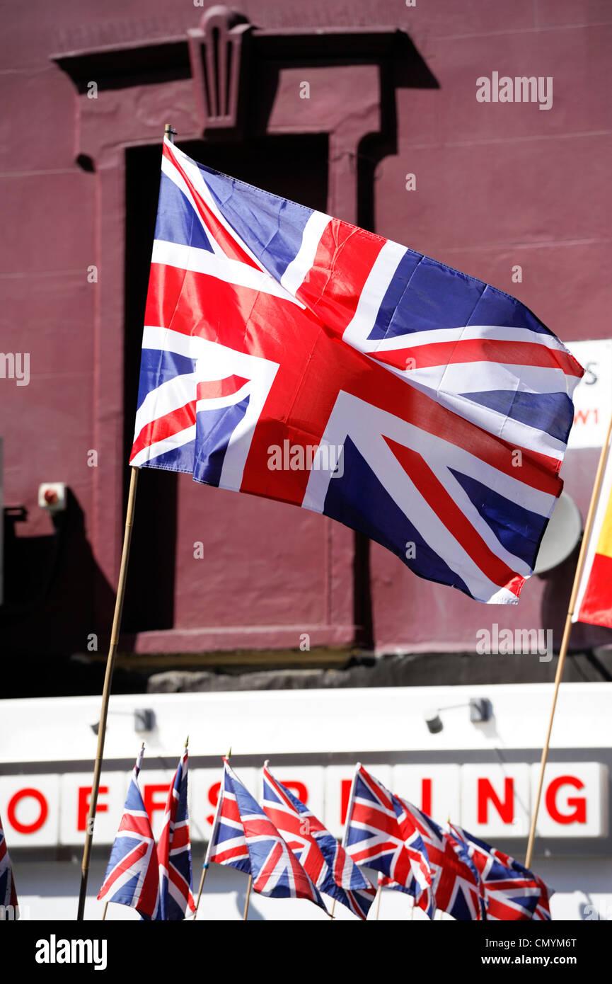 United Kingdom London Camden Union Jack British Flag Above A Shop In