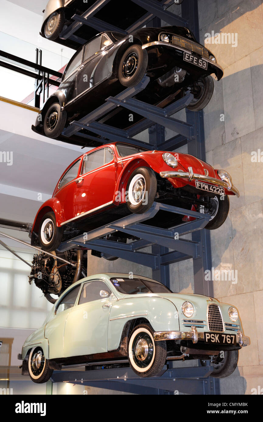 United Kingdom, London, Science Museum, stack of old cars Stock ...