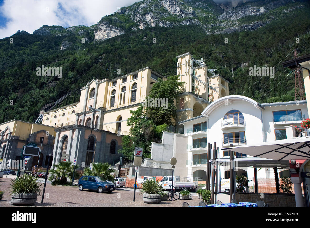 Riva del Garda town in the northern Italy mountains on Garda lake Stock Photo