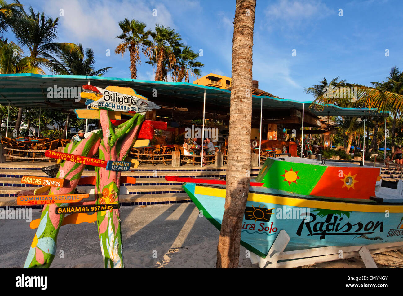 Aruba, Palm Beach, Sunset Bar, Gilligans Bar, Radisson Hotel, West Indies, Dutch Carribean, Central America - Stock Image