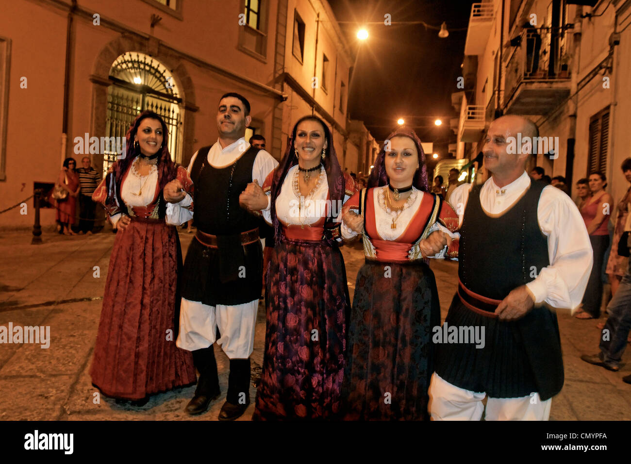 Italy Sardinia Olbia, dance performance with  traditional costumes - Stock Image