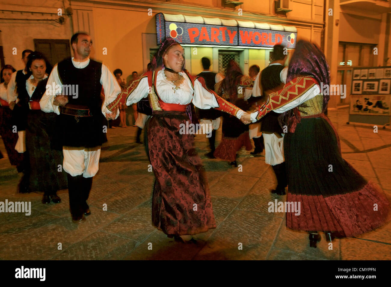 Italy Sardinia Olbia, dance performance with  traditional costumes Stock Photo