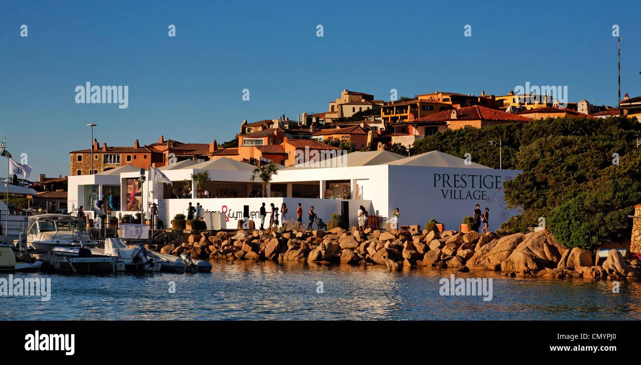 Italy Sardinia Costa Smeralda Porto Cervo, Prestige Village Fitness Center and luxery shopping mall - Stock Image