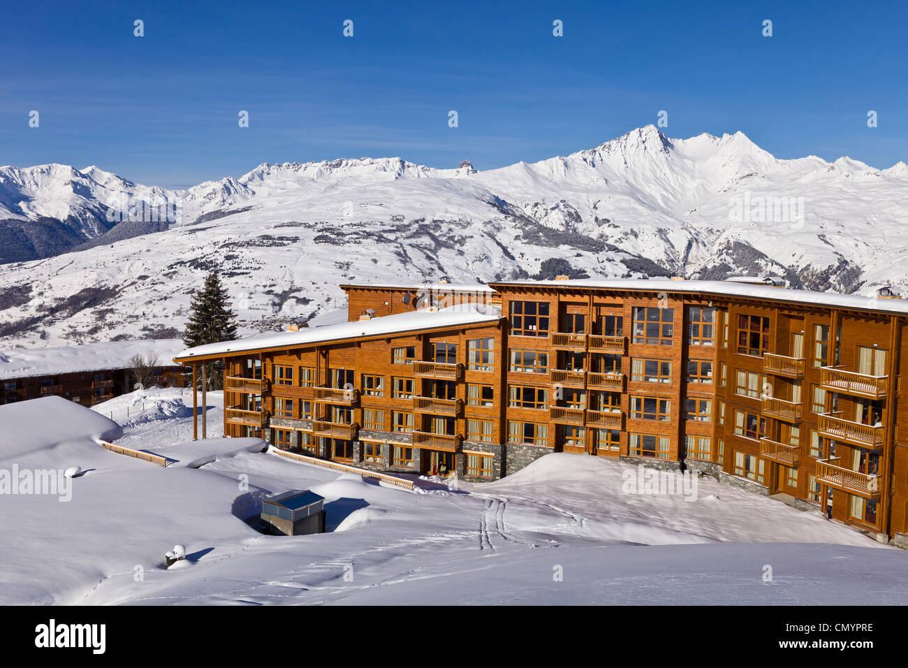 France, Savoie, Les Arcs 1800, Massif de La Vanoise, high Tarentaise valley, the residence Odalys EdenArc 1800 - Stock Image