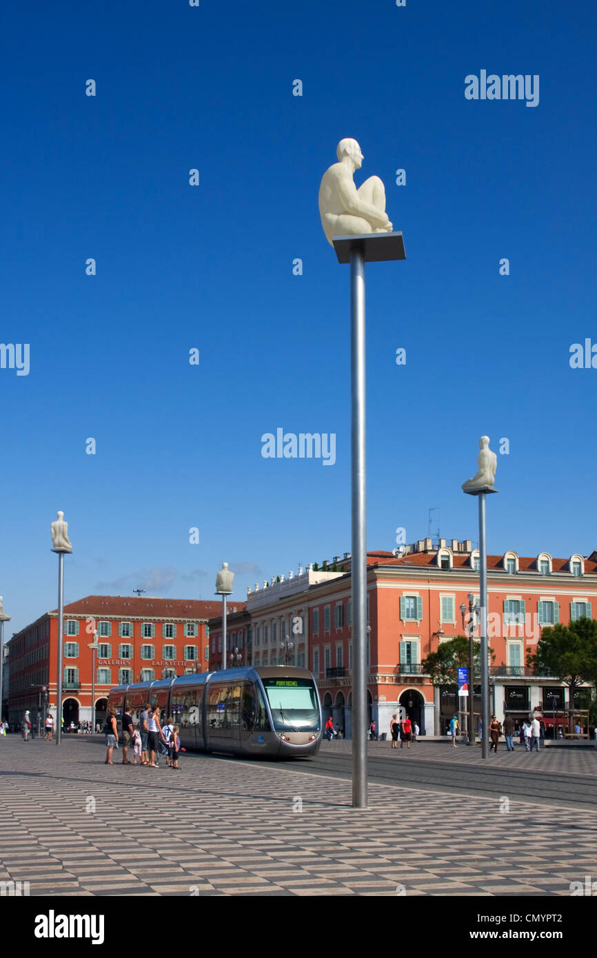 France, French Reviera, Nice, Place Massena, new tram, sculptures - Stock Image