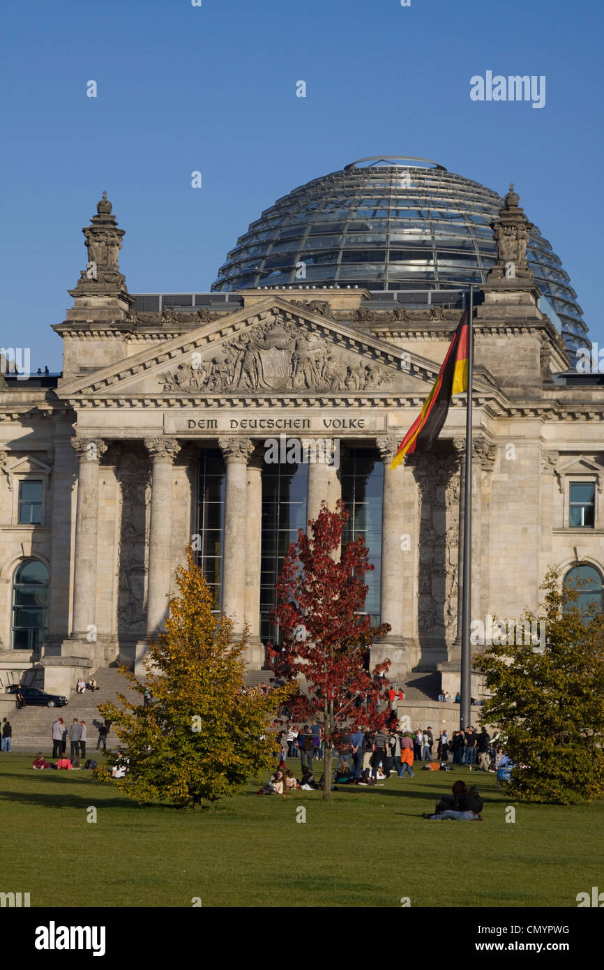 Berlin, Reichstag building with dome by Norman Forster, outdoors Stock Photo