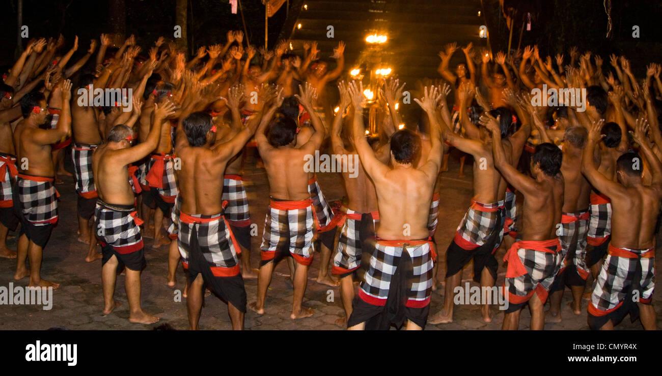 Kecak dance in  Ubud, Bali, Indonesia - Stock Image