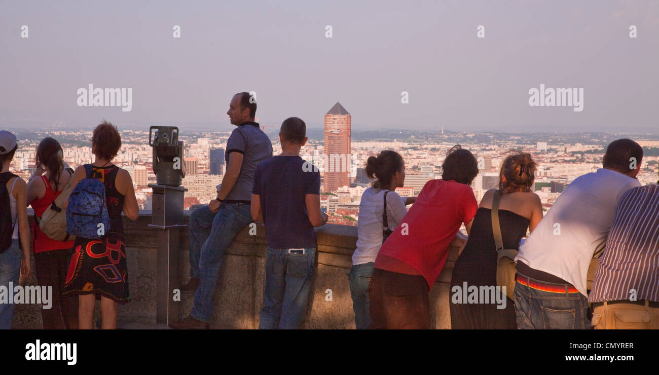Viewpoint of Notre Dame de Fourviere hill, Lyon, Rhone Alps, France - Stock Image