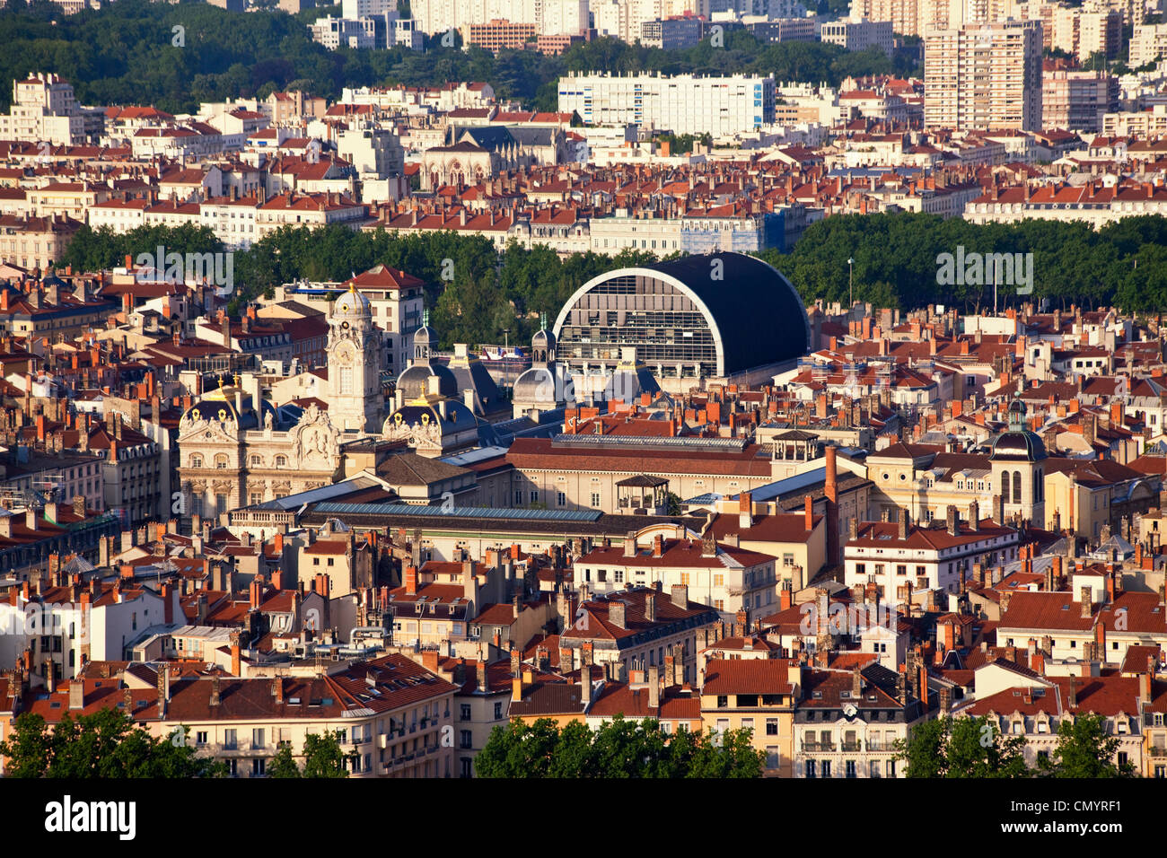 Panoramic view from Viewpoint of Notre Dame de Fourviere hill, Hotel de Ville, Opera, Lyon, Rhone Alps, France - Stock Image