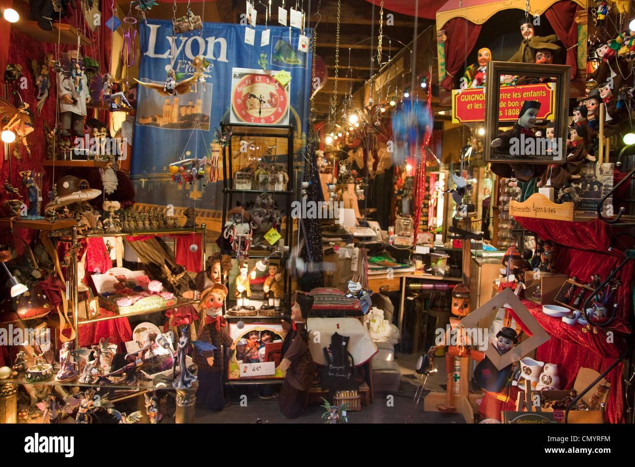 Shop for local handicraft, wooden puppets, Vieux Lyon, Rhone Alps, France - Stock Image