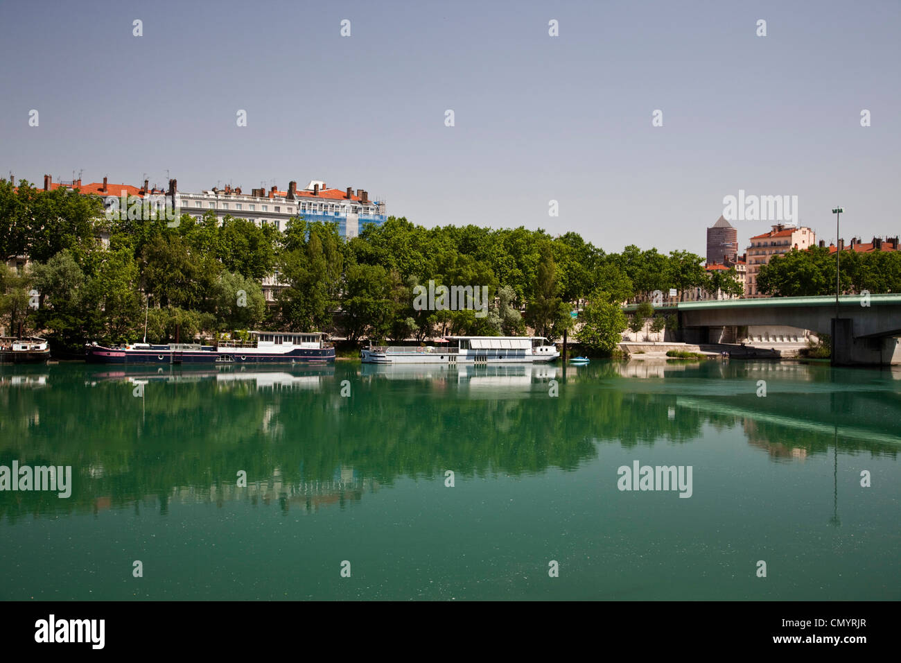 Rhone riverside, house boats, Lyon, Rhone Alps, France Stock Photo