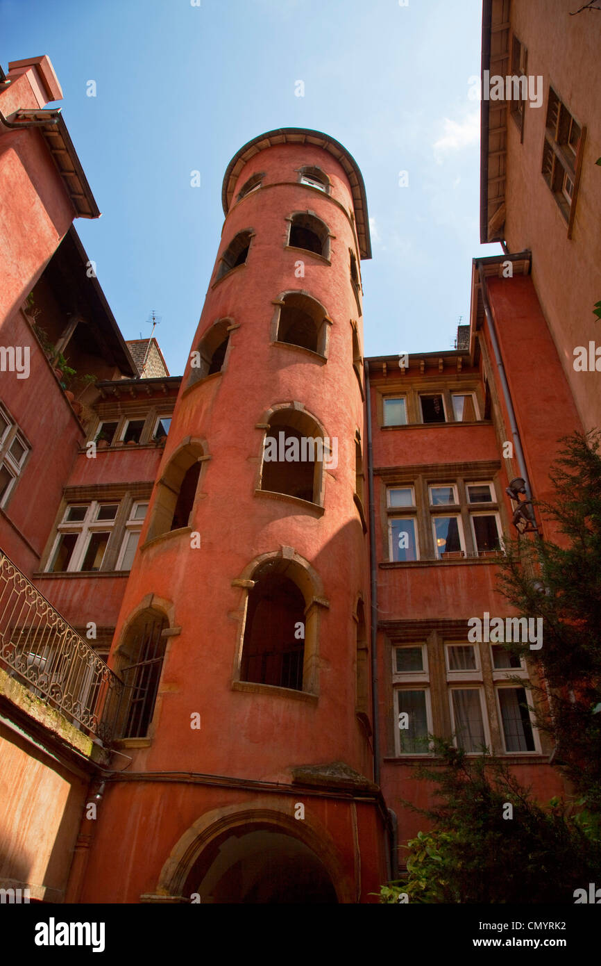 Red Tower in Vieux Lyon, Old City Center, Rhone Alps, France - Stock Image