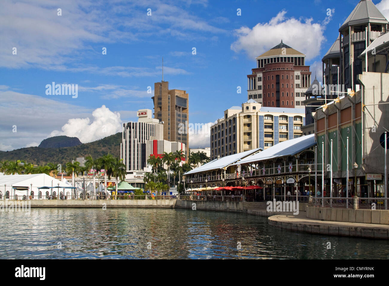 Port Louis, waterfront, downtown, city center, Mauritius, Africa Stock Photo