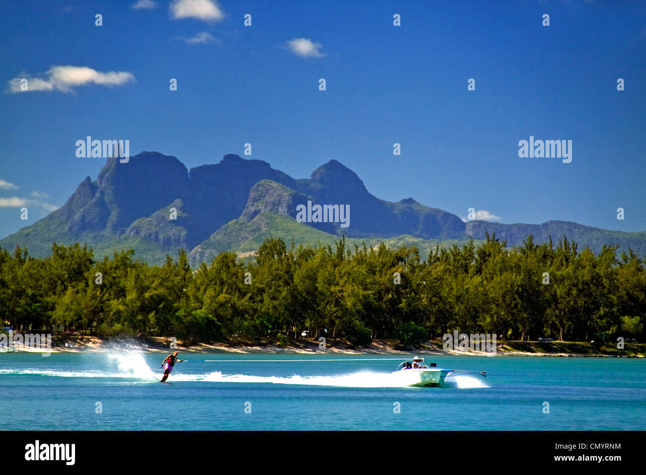 Water ski of Club Med at La Pointe aux Canonniers at north east coast Mauritius, Africa - Stock Image