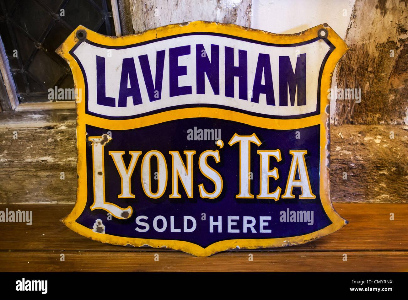 Old Lavenham Lyons' Tea sign, Lavenham, Suffolk - Stock Image