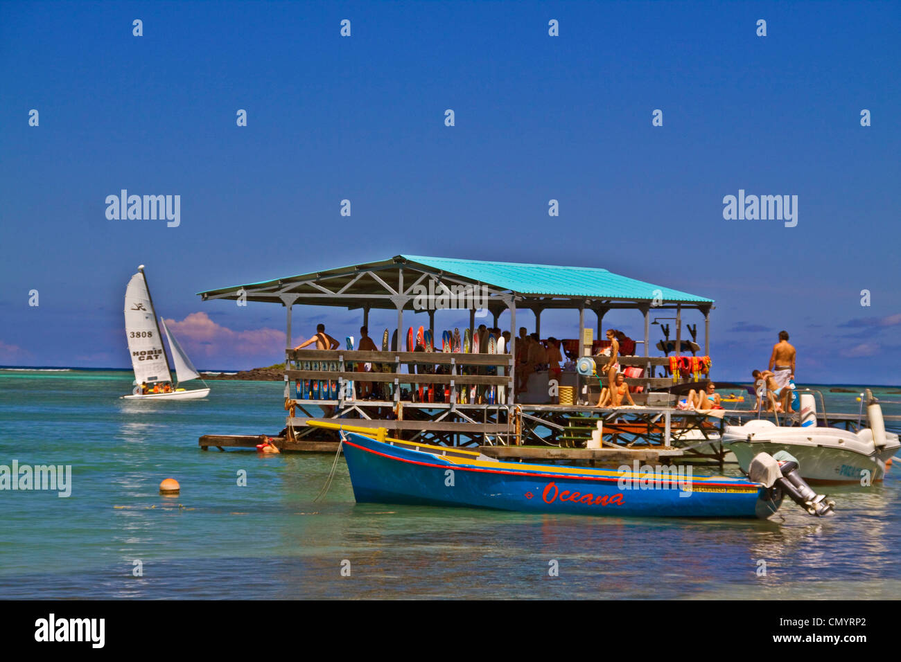 Water ski Pier of Club Med at La Pointe aux Canonniers at north east coast Mauritius, Africa - Stock Image