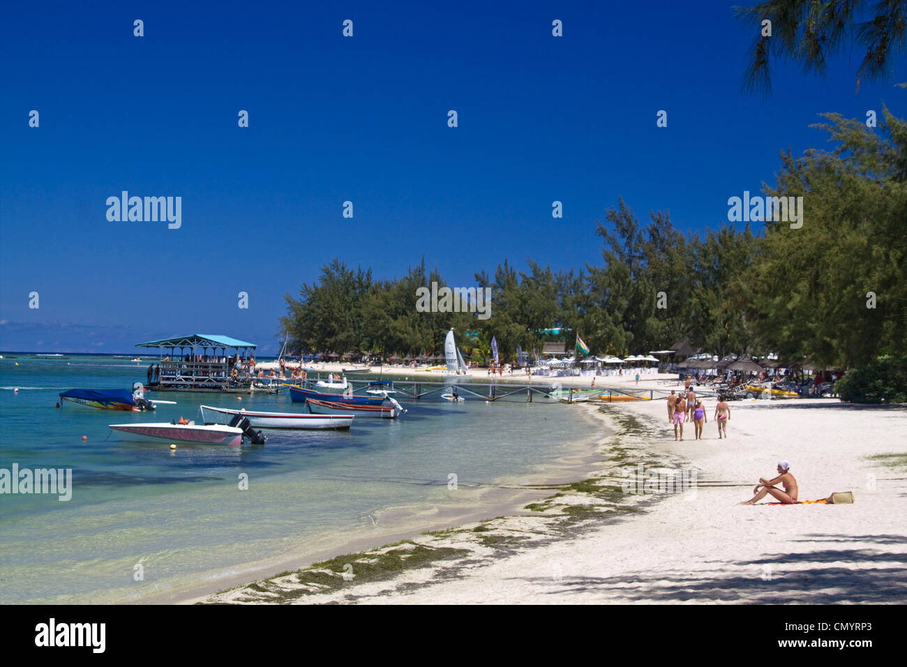 Beach of Club Med at La Pointe aux Canonniers at north east coast Mauritius, Africa - Stock Image