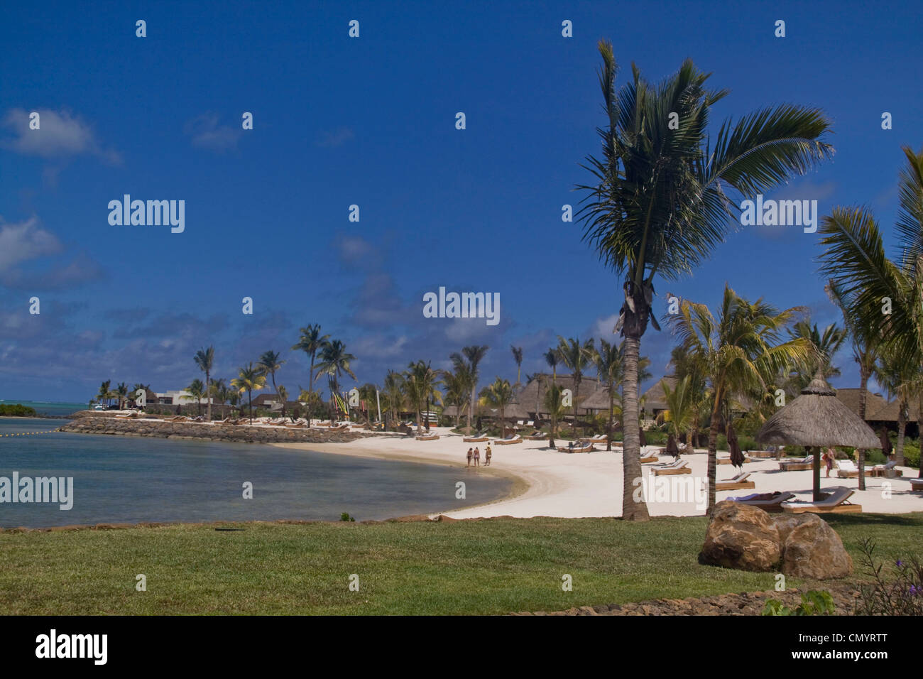 Private beach of Luxery Hotel Four Seasons in Ananhita, Mauritius, Africa - Stock Image