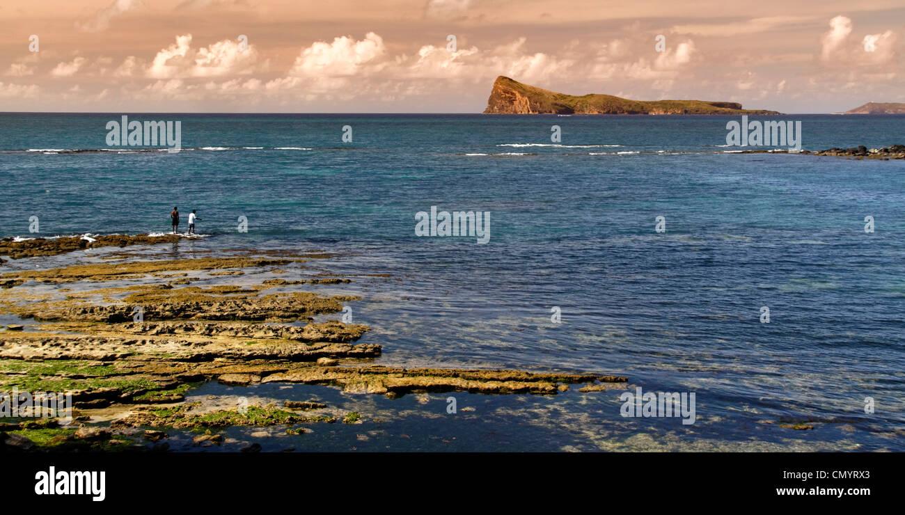 Cap Malheureux, coastline, riff, Mauritius, Africa - Stock Image