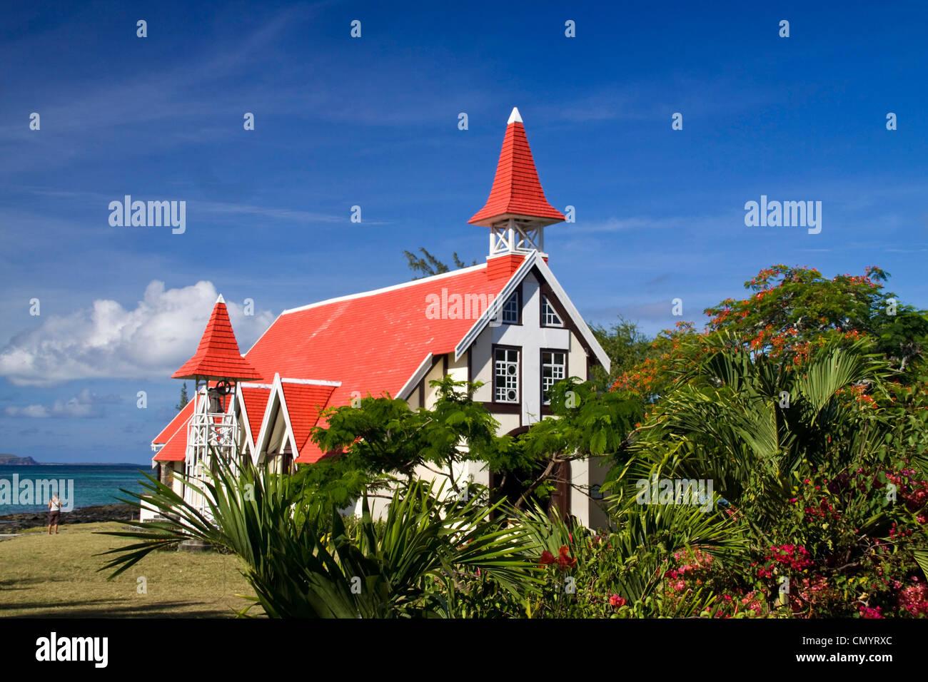 Eglise de Cap Malheureux, Mauritius, Africa Stock Photo