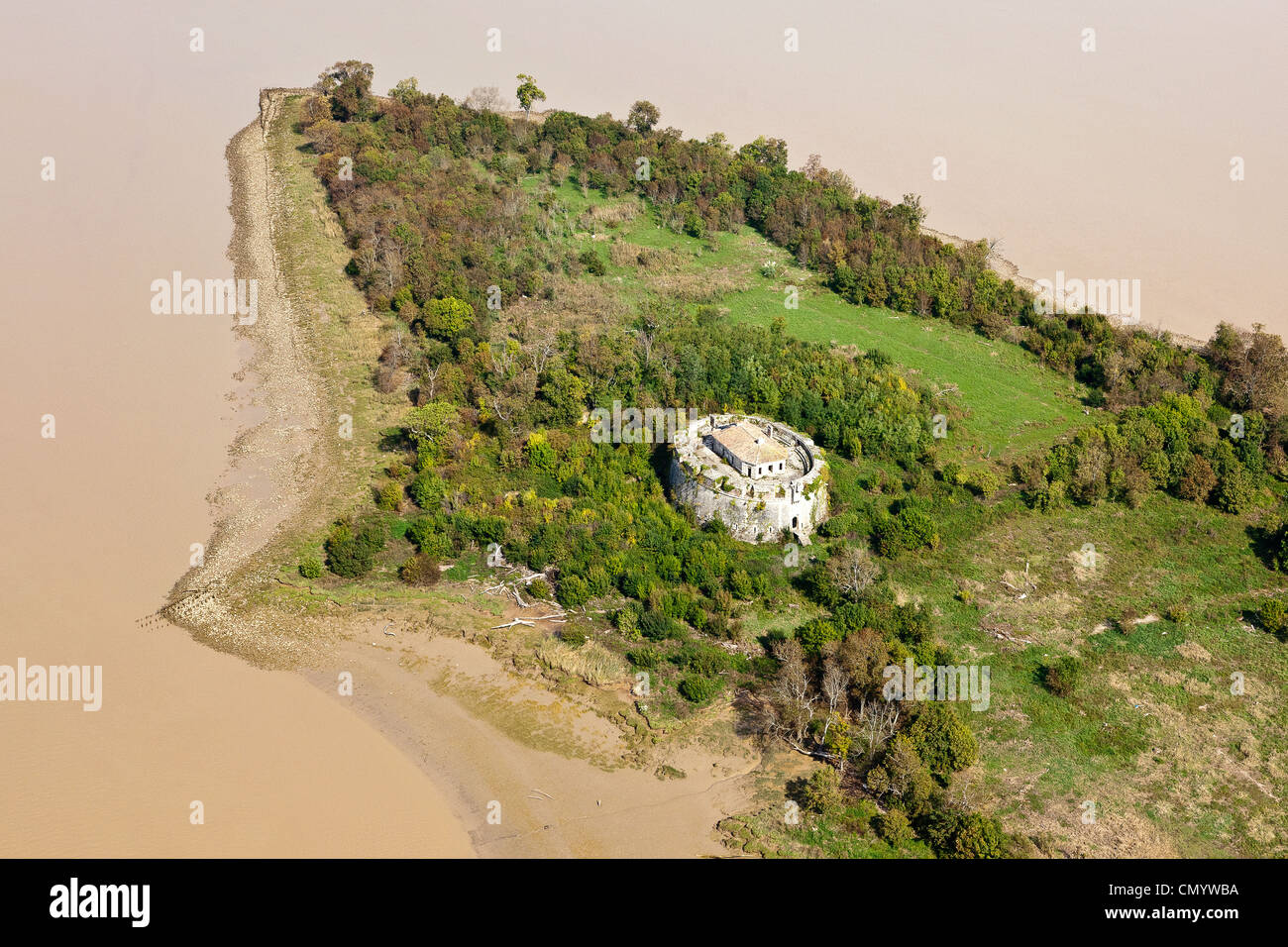 France, Gironde, Blaye, Fort Pate, Fortifications of Vauban, listed as World Heritage by UNESCO (aerial view) - Stock Image