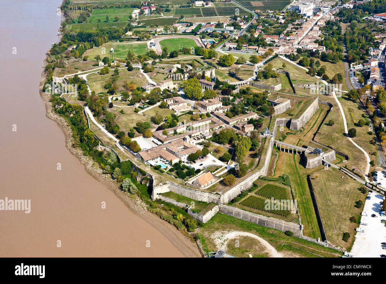 France, Gironde, Blaye, La Citadelle, Fortifications of Vauban, listed as World Heritage by UNESCO (aerial view) - Stock Image