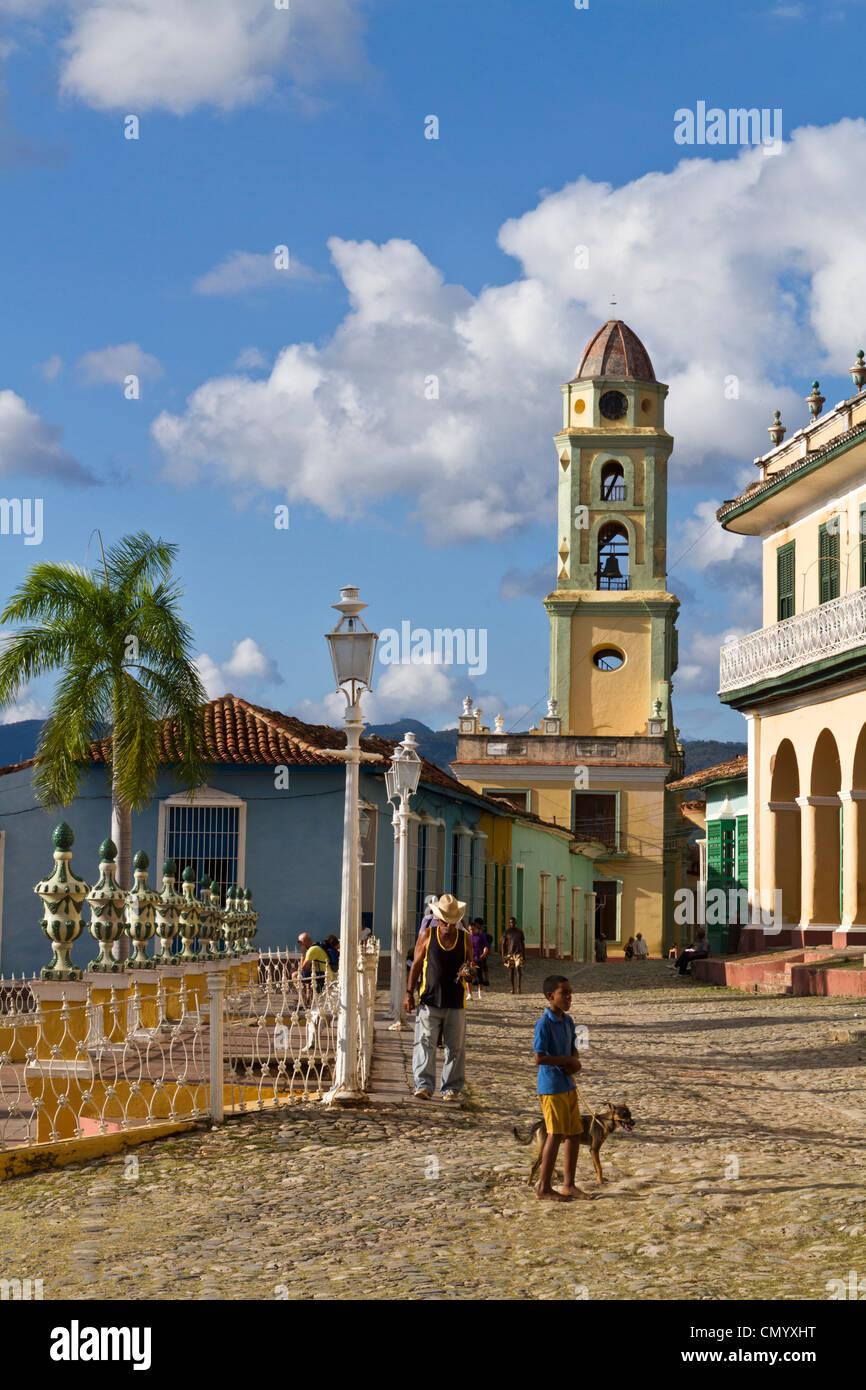 Plaza Mayor, Bell tower of Iglesia y Convento de San Francisco, Trinidad, Cuba, Greater Antilles, Antilles, Carribean, Stock Photo