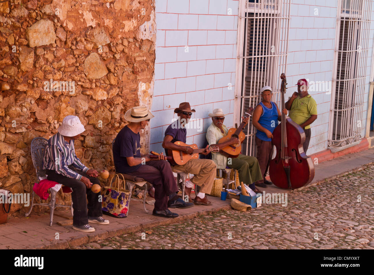 Street Musicions in Trinidad, Cuba, Greater Antilles, Antilles, Carribean, West Indies, Central America, North America, - Stock Image