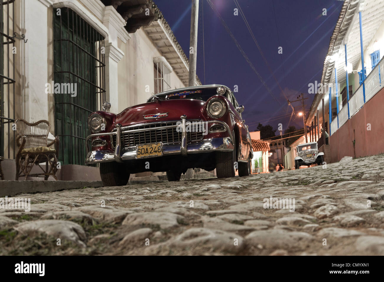 Oldtimer, Street with cobblestone, Trinidad, Cuba, Greater Antilles, Antilles, Carribean, West Indies, Central America, - Stock Image