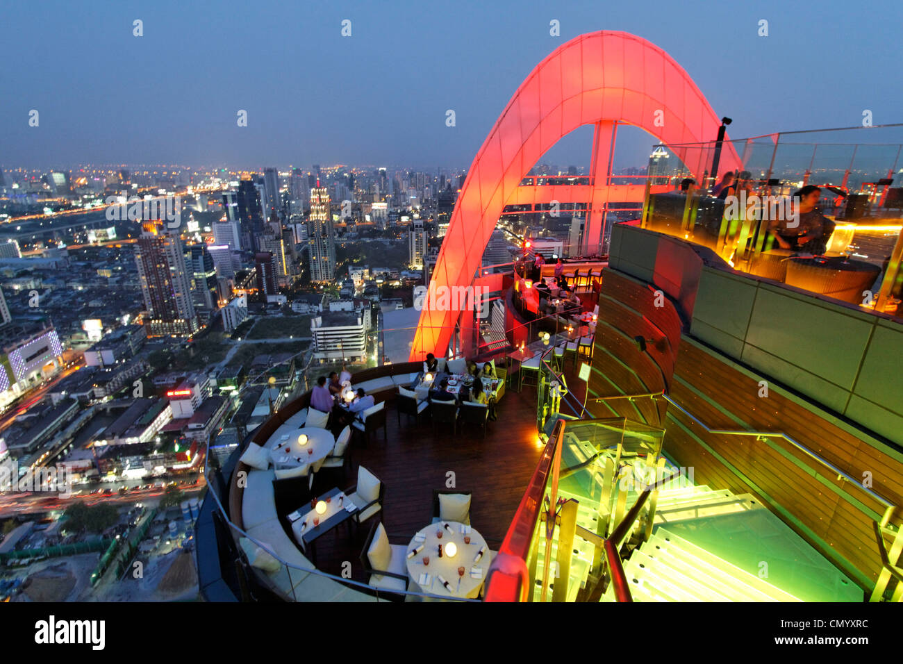 Red Sky Bar, 55th flour, Centara Grand Hotel, Central World, Bangkok, Thailand - Stock Image
