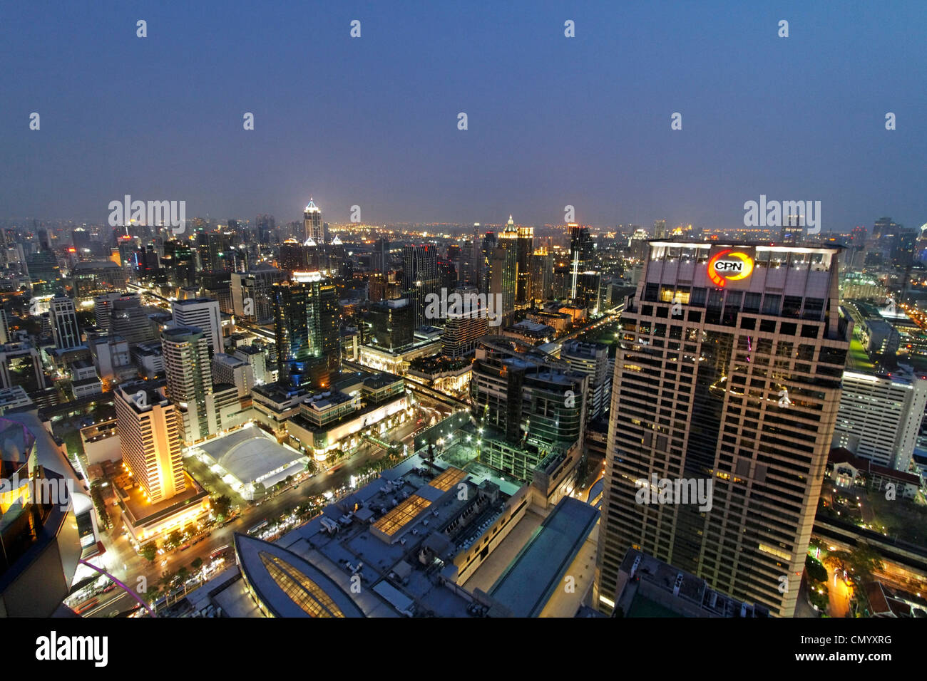 Panoramic view from Red Sky Rooftop Bar, Centara Grands, Bangkok, Thailand - Stock Image
