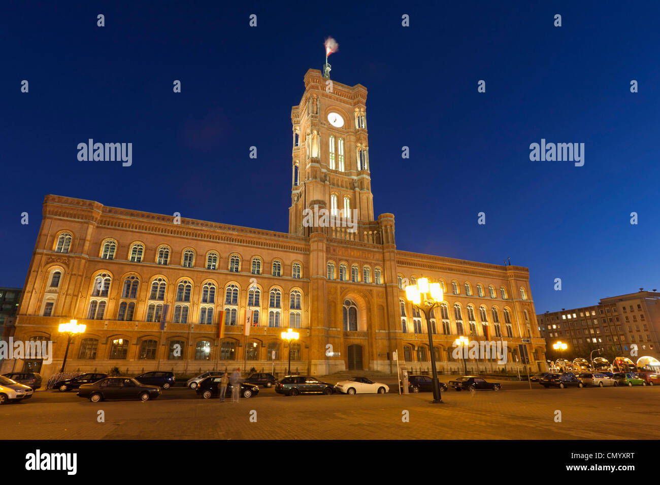 Rotes Rathaus, Rathausstrasse, Red town hall, Berlin Mitte, Berlin. Germany - Stock Image