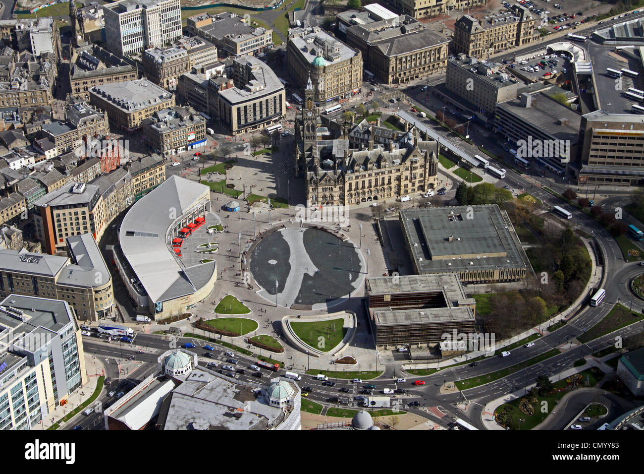 Aerial view of Centenary Square, Bradford, West Yorkshire - Stock Image