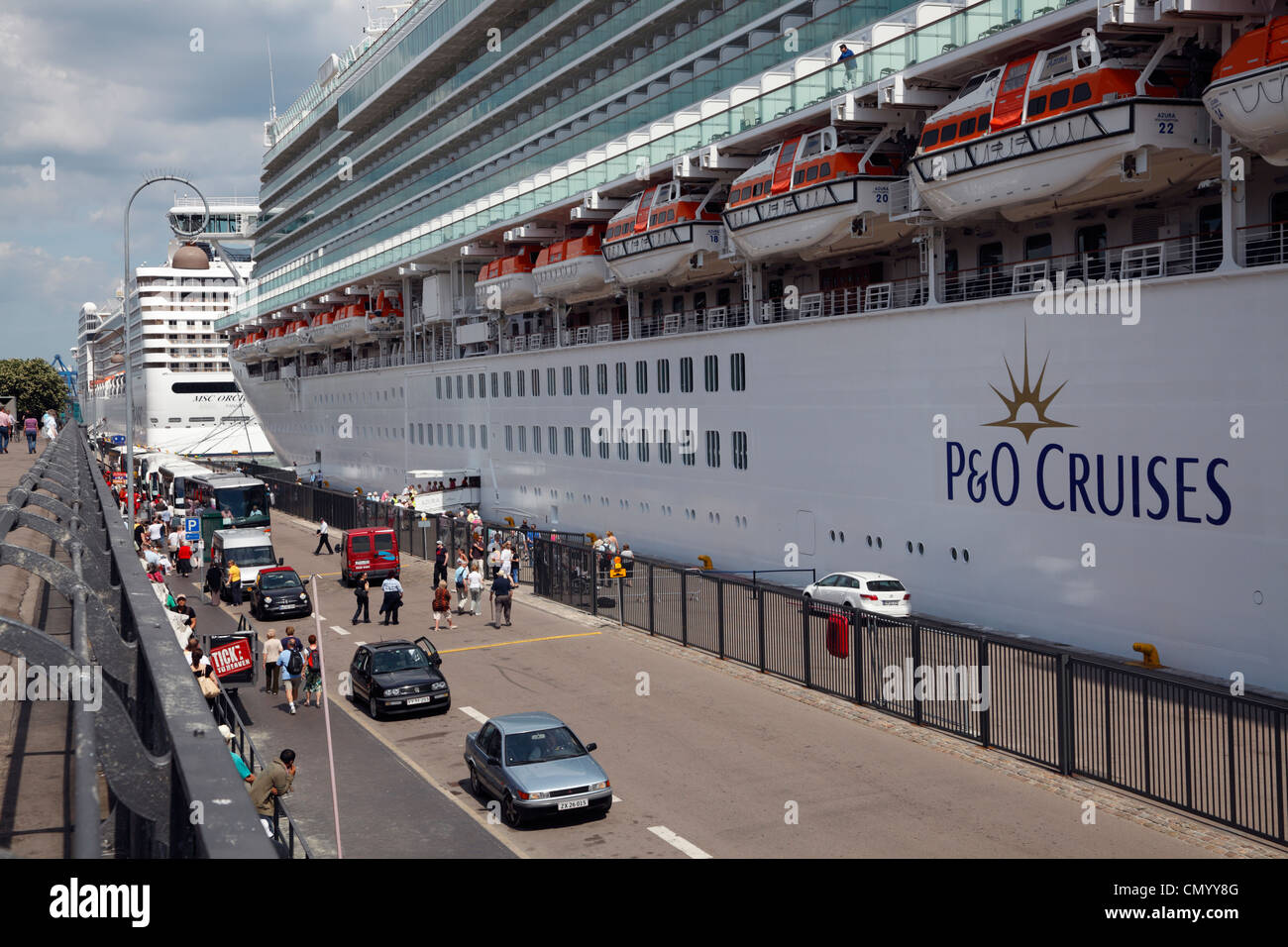 Business on the quay at Langelinie when the P&O cruise ship the MS AZURA is calling at the port of Copenhagen, - Stock Image