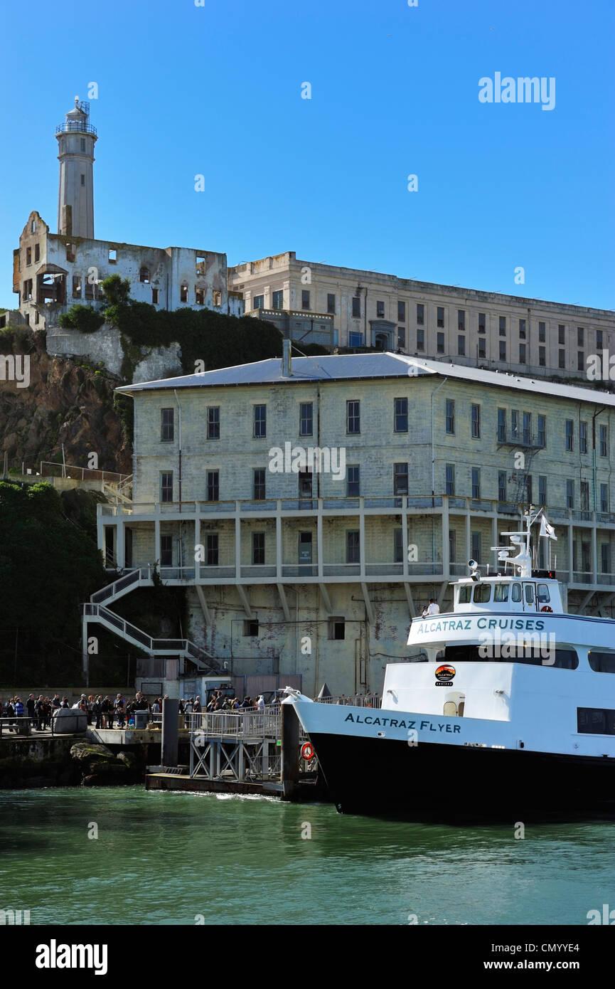 The landing pier at Alcatraz, San Francisco CA - Stock Image