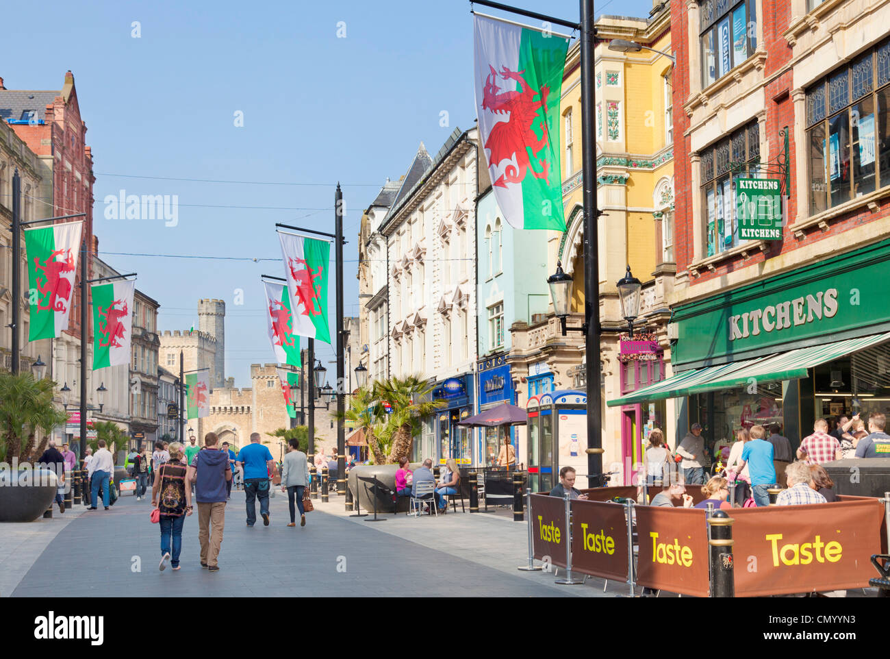 Cardiff city centre walking up High Street towards the castle South Glamorgan South Wales UK GB EU Europe - Stock Image