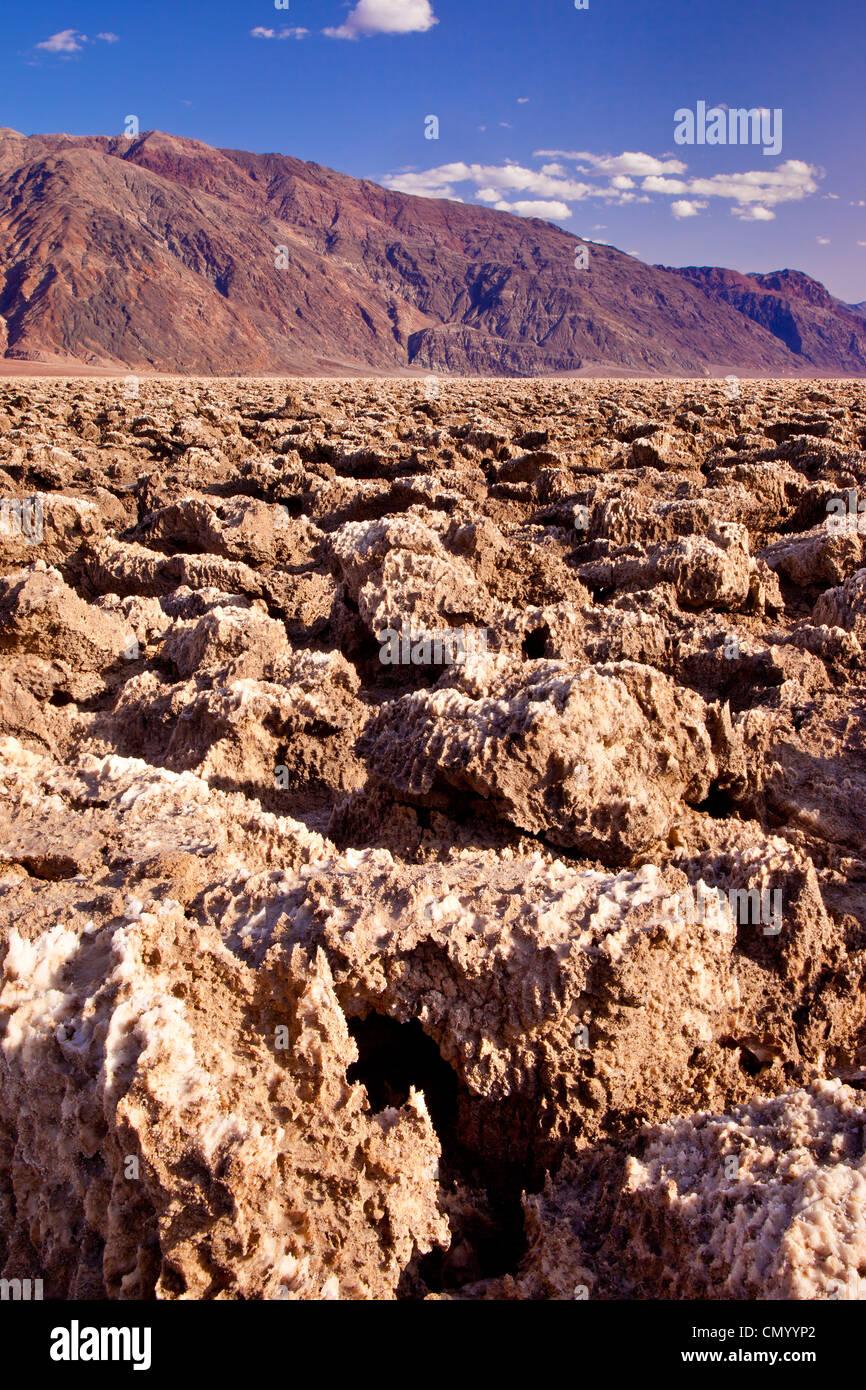 Salt clumps comprise the 'Devil's Golf Course,' Death Valley National Park, California USA - Stock Image