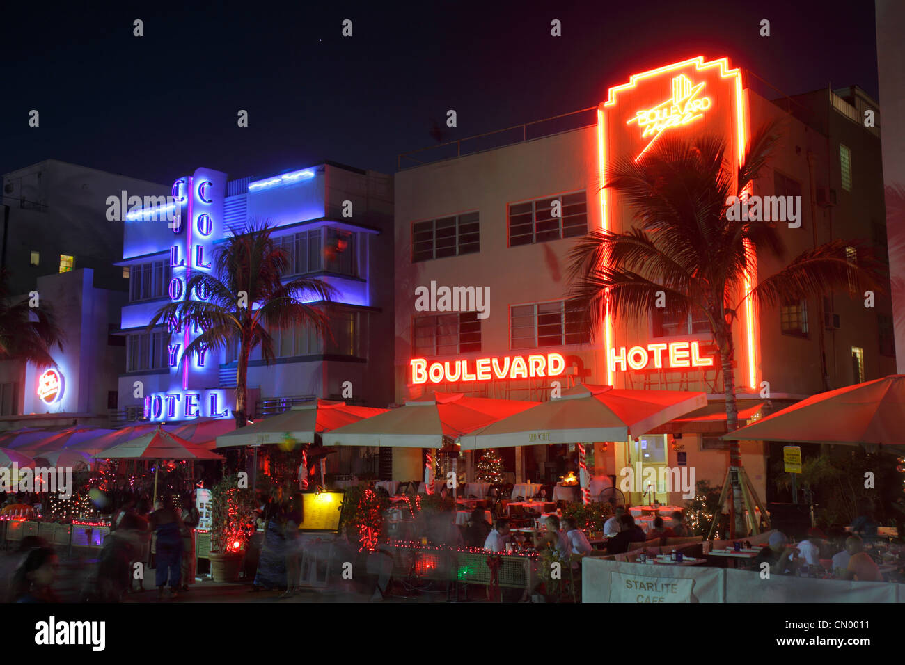 Miami Beach Florida Ocean Drive Art Deco Historic District Colony & Boulevard Hotel New Year's Eve night - Stock Image