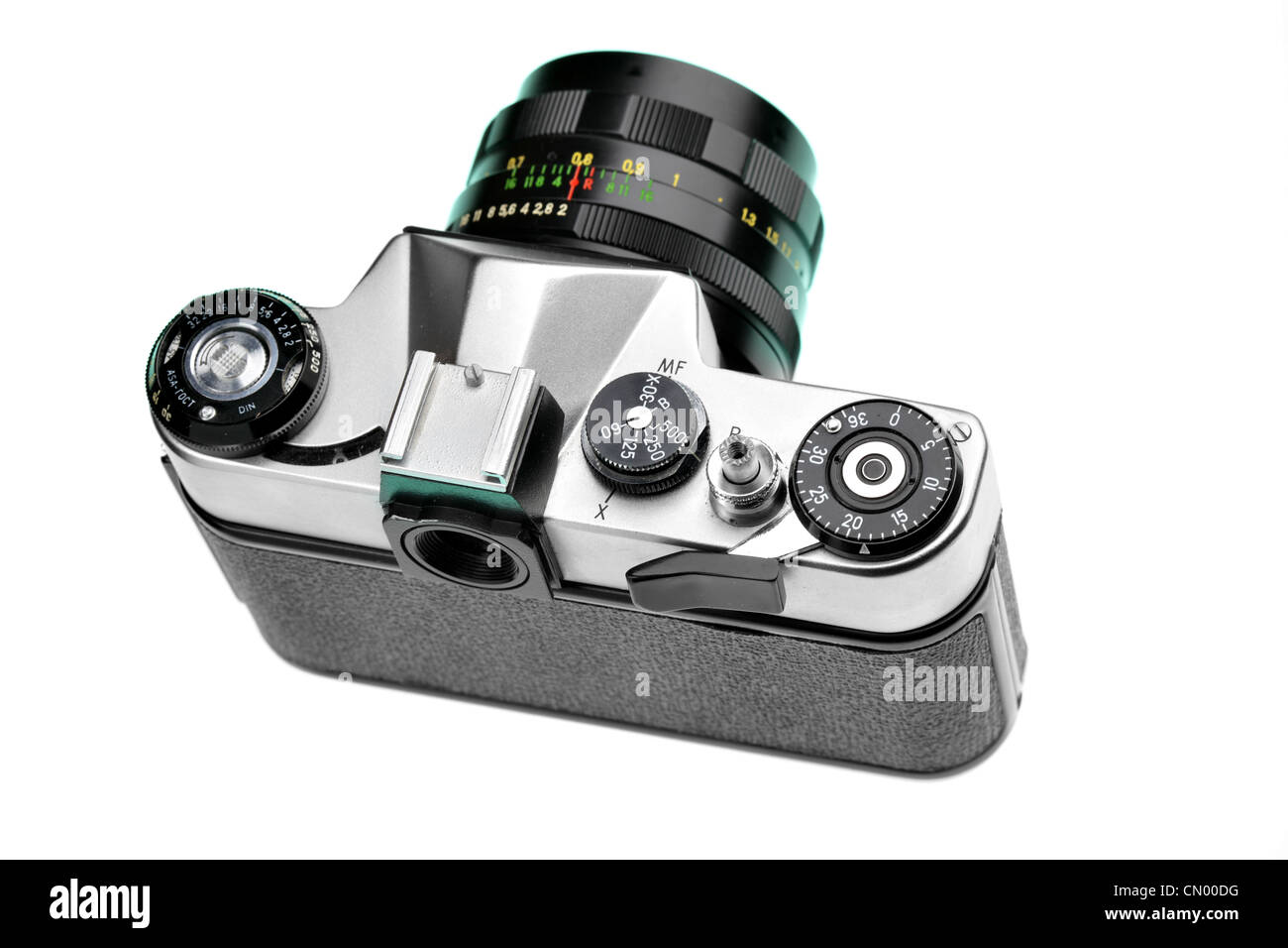 SLR camera from above isolated over white background - Stock Image