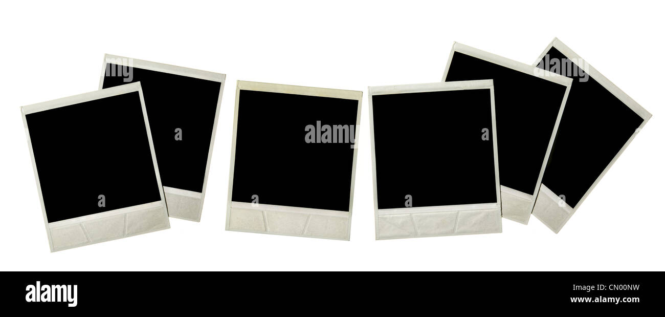 Instant photos isolated over white background - Stock Image