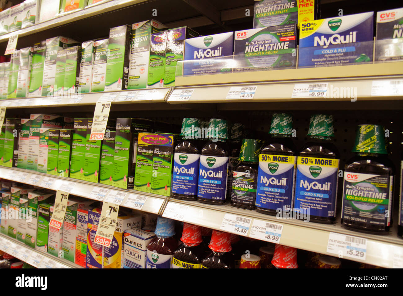Miami Beach Florida Fifth Street Walgreens pharmacy drugstore retail display for sale packaging competing brands - Stock Image