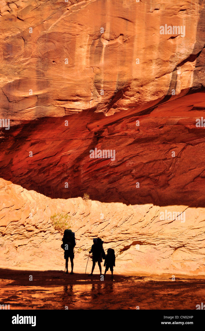 Family backpacking in Coyote Gulch, a tributary of the Escalante River in Southern Utah. Stock Photo